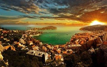 небо, облака, деревья, горы, солнце, закат, лучи, море, горизонт, яхты, лодки, побережье, дома, бухта, лазурный берег, монако, french riviera