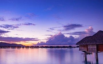 небо, облака, огни, вечер, берег, закат, море, отдых, остров, бунгало, тропики, бора-бора, французская полинезия