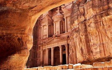 петра, древнего, наскальные, десерд, иордания, petra