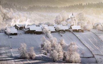 храм, зима, деревня, дома, winter tale