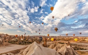 небо, облака, горы, скалы, турция, воздушный шар, каппадокия