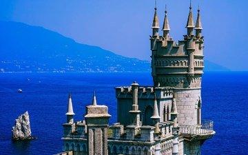 горы, солнце, море, скала, черное море, побережье, крепость, дымка, синева, крым, ласточкино гнездо