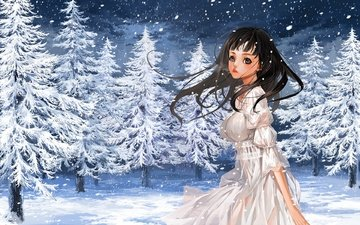 snow, forest, winter, girl, tree, ate