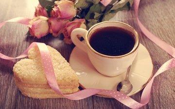 розы, кофе, сердце, чашка, лента, праздник, печенье, день святого валентина, ложка
