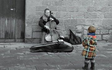 girl, music, street, child, cello