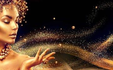девушка, модель, бусы, макияж, золото, украшение, анна субботина, кольцо в форме цветка