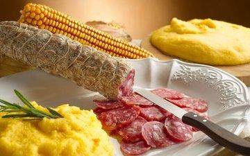 кукуруза, нож, колбаса, нарезка
