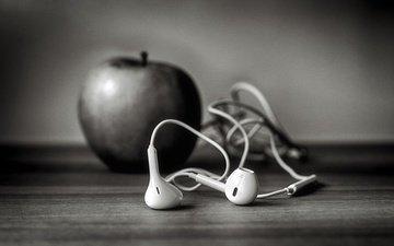 наушники, яблоко, айфон, ☊, ѽ, ч-б