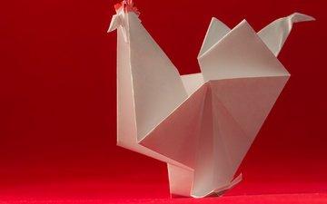 paper, bird, origami, cock