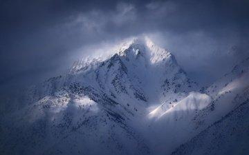 свет, облака, горы, снег, зима, гора