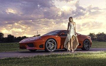 стиль, платье, поза, машина, авто, модель, феррари, callie ann staires