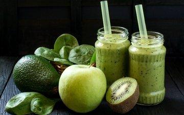 напиток, фрукты, яблоки, коктейль, киви, авокадо, смузи