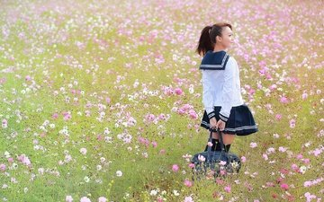 flowers, girl, field, summer, form, bag