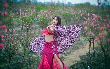 цветы, стиль, девушка, танец, азиатка