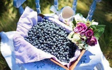 цветы, картина, ягоды, лесные ягоды, живопись, натюрморт, голубика, парное, летнее, черничный