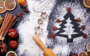 new year, tree, cinnamon, orange, christmas, xmas, flour, decoration, merry christmas