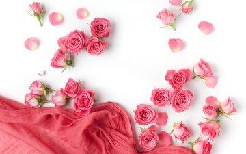 бутоны, розы, романтик, цветы, роз, пинк