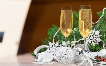 new year, tree, glasses, christmas, champagne, decoration, happy