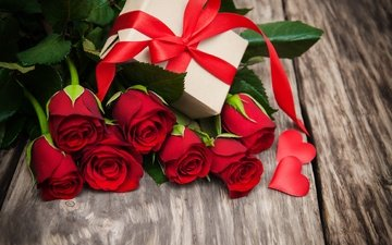 buds, roses, gift, romantic, red, valentine's day, flowers, love, red roses, heart