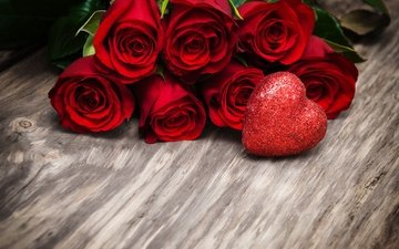 buds, roses, romantic, red, valentine's day, wood, flowers, love, red roses, heart