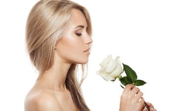 взгляд, прическа, цветы, модел