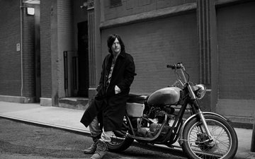 road, black and white, street, house, motorcycle, bike, the sidewalk, photoshoot, coat, vogue, norman reedus, eric guillemain