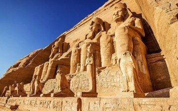 небо, храм, скала, статуи, неба, египет, древнего, наскальные, nubia, абу-симбел