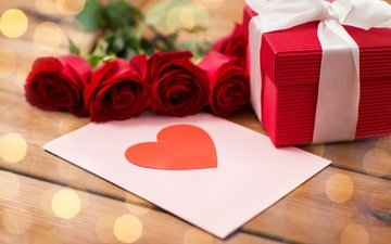 gift, romantic, red, valentine's day, roses, love, heart