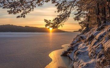 озеро, зима, утро, рассвет, швеция, швеции