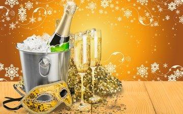 новый год, елка, снежинки, бокалы, рождество, шампанское, встреча нового года, довольная