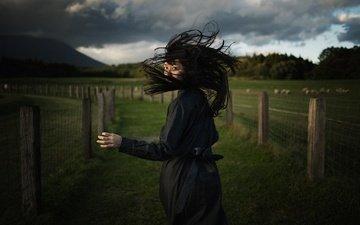 girl, hair, running, black dress, koichi ito