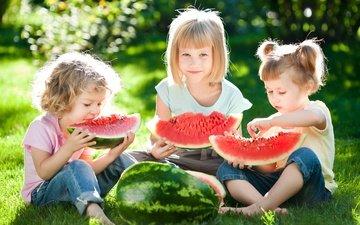 трава, солнце, лето, дети, арбуз, девочки, вс, арбузы, летнее, little girls
