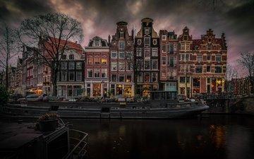канал, дома, нидерланды, амстердам