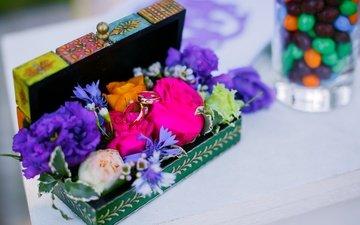цветы, лето, семья, кольца, свадьба