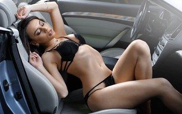 girl, auto, posing, in lingerie