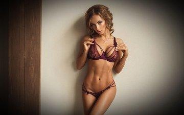 девушка, брюнетка, модель, грудь, фигура, тело, белье, животик