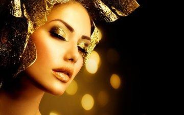 девушка, модель, макияж, золото, украшение, анна субботина