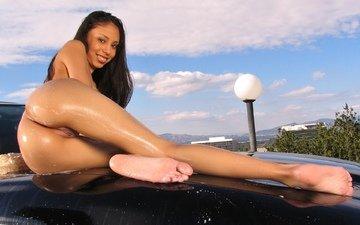 вода, девушка, машина, попа, модель, спина, киска, фигура, секси, тело, автомобиль, мокрая, обнаженная, голая, попка, жопа, боди, ню, сзади, ногами, gевочка, влажная, сексапильная