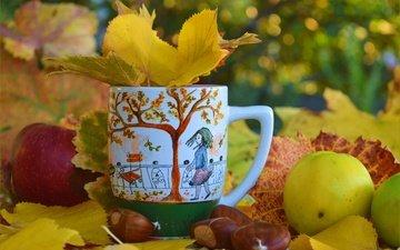 листья, яблоки, осень, чашка, осен, листья