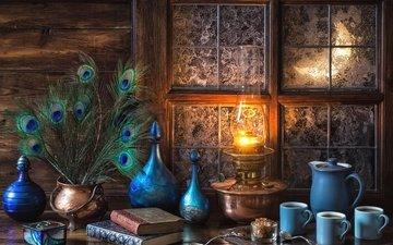 мороз, кофе, лампа, книги, голубой, перья, окно, посуда, натюрморт