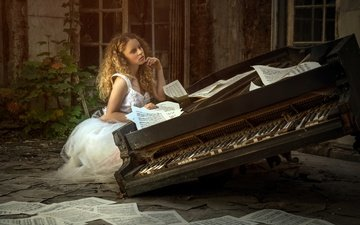 girl, pose, notes, music, piano, karina bratkowska