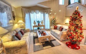 новый год, елка, праздник, рождество, диван, столик, гостиная