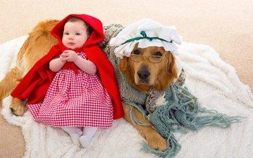 платье, взгляд, очки, собака, девочка, ребенок, маленькая, мех, детские, ретривер, в платье, cобака, дитя