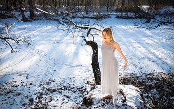 снег, природа, зима, девушка, настроение, холод, sarah