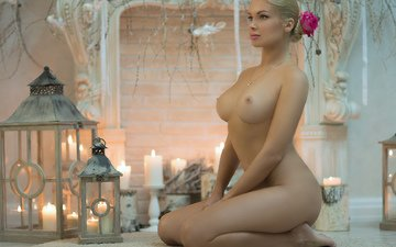 candles, girl, pose, look, ass, barrette, lantern, chest, pussy, tits, beautiful