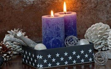 свечи, новый год, шары, рождество, xmas, декорация, счастливого рождества, holiday celebration
