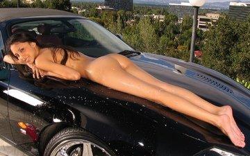 вода, девушка, машина, попа, модель, спина, фигура, секси, тело, автомобиль, мокрая, обнаженная, голая, попка, жопа, боди, ню, сзади, брюнет, gевочка, влажная, сексапильная