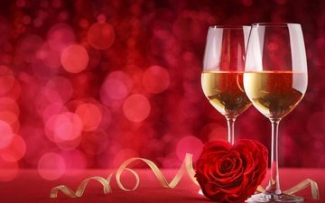 background, glasses, romantic, champagne, red, valentine's day, bokeh, roses, love