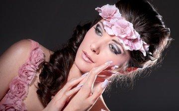 цветы, девушка, брюнетка, модель, женщина, мода, цветы, брюнет