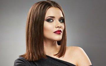 девушка, взгляд, модель, макияж, прическа, помада, мода, мейкап, губная помада